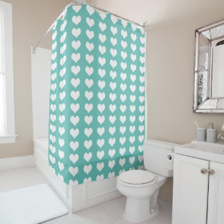 Teal White Hearts Pattern Shower Curtain
