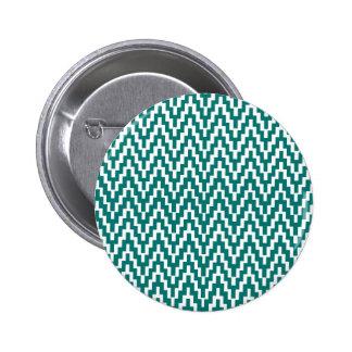 Teal White Ikat Chevron Zig Zag Stripes Pattern 6 Cm Round Badge