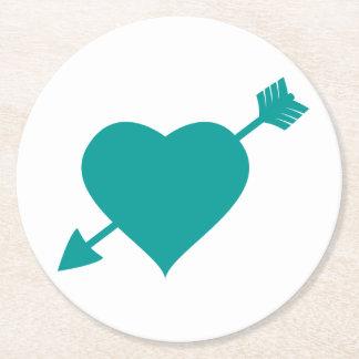 Teal & White Love Heart - Wedding, Bridal Shower Round Paper Coaster