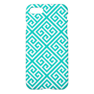 Teal White Med Greek Key Diag T Pattern #1 iPhone 7 Case