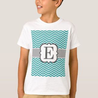 Teal White Monogram Letter E Chevron T-Shirt