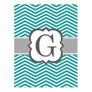Teal White Monogram Letter G Chevron Postcard
