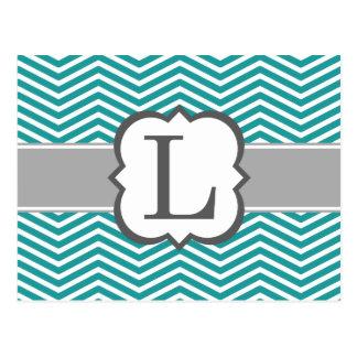 Teal White Monogram Letter L Chevron Postcard