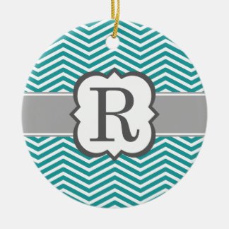 Teal White Monogram Letter R Chevron Christmas Ornament
