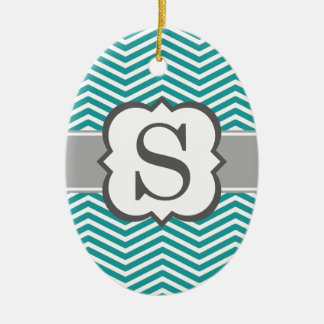 Teal White Monogram Letter S Chevron Christmas Ornament