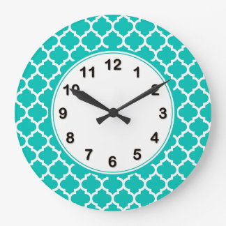 Teal White Moroccan Quatrefoil Pattern #5 Large Clock