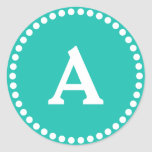 Teal & White Personalised Monogram Envelope Seal Round Sticker