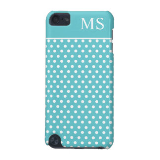 Teal White Polka Dots & Monogram iPod Touch 5G Covers