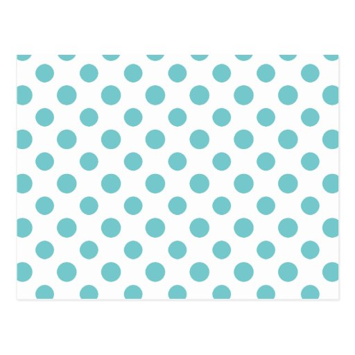 Teal White Polka Dots Pattern Postcards