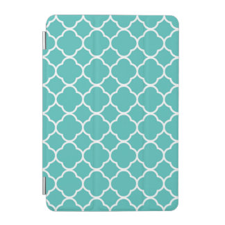 Teal & White Quatrefoil Custom iPad Smart Cover iPad Mini Cover