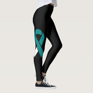 Teal & White Ribbon custom leggings