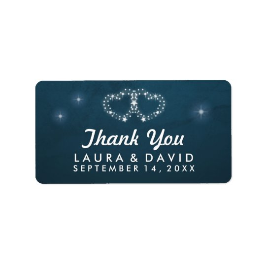 Teal & White Stars Hearts Matching Thank You Label