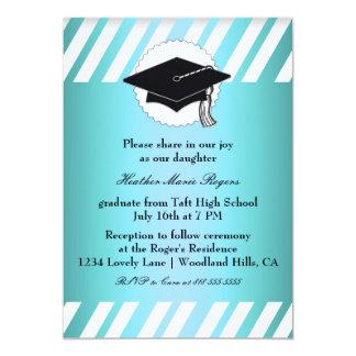 Teal White Striped Graduation Inivitation Card