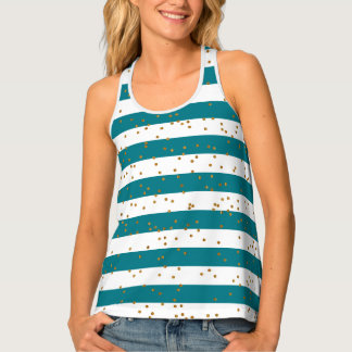 Teal & White Stripes and Gold Confetti Tank Top