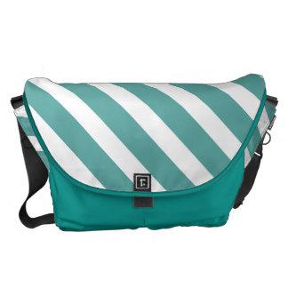 Teal White Stripes Messenger Bag