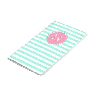 Teal & white stripes, Monogram Pocket Journal