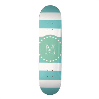 Teal White Stripes Pattern, Mint Green Monogram Skateboard
