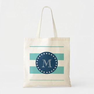 Teal White Stripes Pattern, Navy Blue Monogram Budget Tote Bag