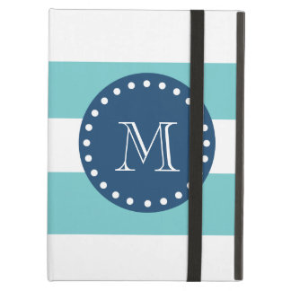Teal White Stripes Pattern, Navy Blue Monogram iPad Air Covers