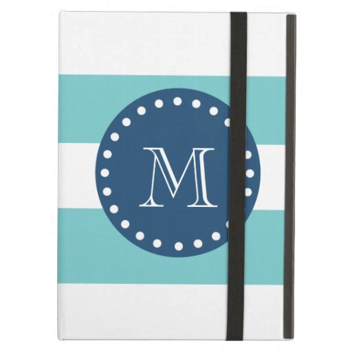 Teal White Stripes Pattern, Navy Blue Monogram iPad Air Case