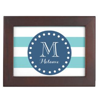 Teal White Stripes Pattern, Navy Blue Monogram Keepsake Box