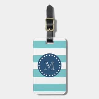 Teal White Stripes Pattern, Navy Blue Monogram Travel Bag Tag