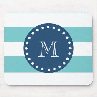 Teal White Stripes Pattern, Navy Blue Monogram Mouse Pad