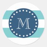 Teal White Stripes Pattern, Navy Blue Monogram Round Stickers