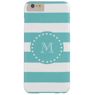 Teal White Stripes Pattern, Your Monogram Barely There iPhone 6 Plus Case