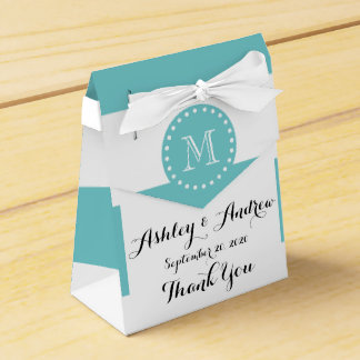 Teal White Stripes Pattern, Your Monogram Favour Box