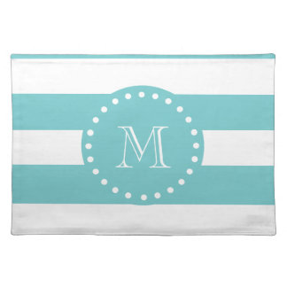 Teal White Stripes Pattern, Your Monogram Placemat