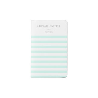 Teal & white stripes Personalized Notebook
