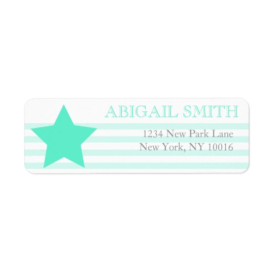 Teal & white stripes - Return Address Labels
