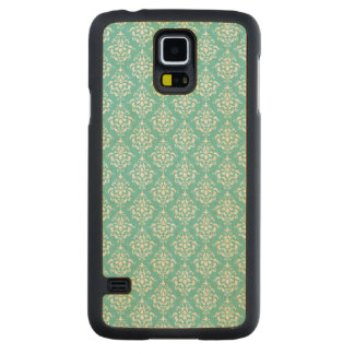 TEAL WHITE VINTAGE DAMASK PATTERN 1 CARVED® MAPLE GALAXY S5 CASE