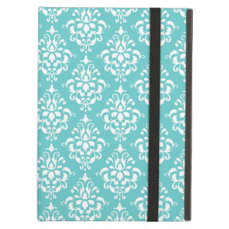 TEAL WHITE VINTAGE DAMASK PATTERN 1 COVER FOR iPad AIR