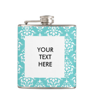 TEAL WHITE VINTAGE DAMASK PATTERN 1 HIP FLASK