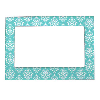 TEAL WHITE VINTAGE DAMASK PATTERN 1 MAGNETIC PICTURE FRAME