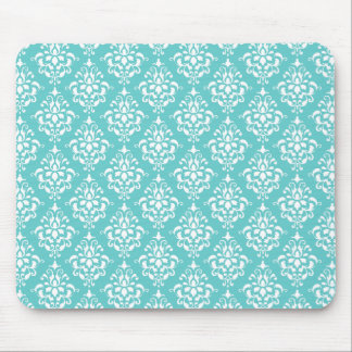 TEAL WHITE VINTAGE DAMASK PATTERN 1 MOUSE MAT