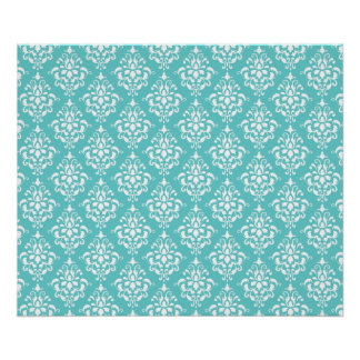 TEAL WHITE VINTAGE DAMASK PATTERN 1 POSTER