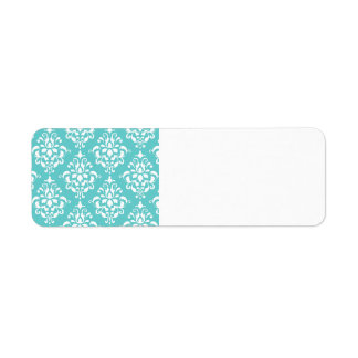 TEAL WHITE VINTAGE DAMASK PATTERN 1 RETURN ADDRESS LABEL