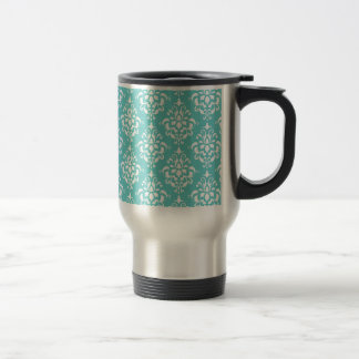TEAL WHITE VINTAGE DAMASK PATTERN 1 TRAVEL MUG