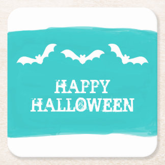 Teal White Watercolor Bats Halloween Square Paper Coaster
