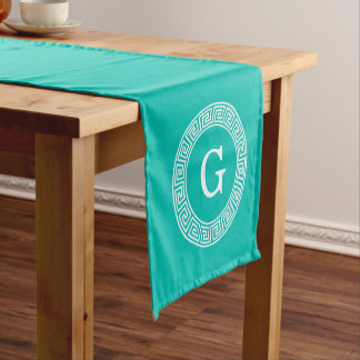 Teal Wht Greek Key Rnd Frame Initial Monogram Short Table Runner