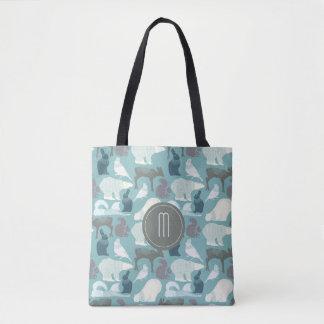 Teal Wildlife Winter Pattern Monogram Tote Bag