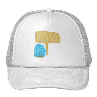 Teal wind power trucker hats