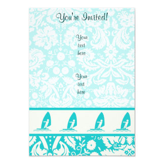 Teal Windsurfing 13 Cm X 18 Cm Invitation Card