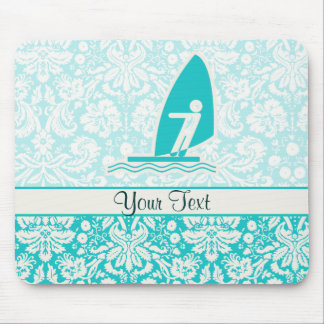 Teal Windsurfing Mouse Mat
