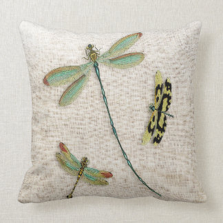 Teal-Winged Dragonflies Decorative Throw Pillow