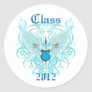Teal Winged Swords Class of Graduation Sticker