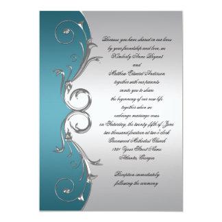Teal with Ornate Silver Swirls Wedding Celebration 13 Cm X 18 Cm Invitation Card